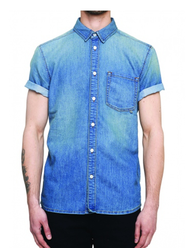WESC Eric Jeans Kurzarmhemd (washed out)