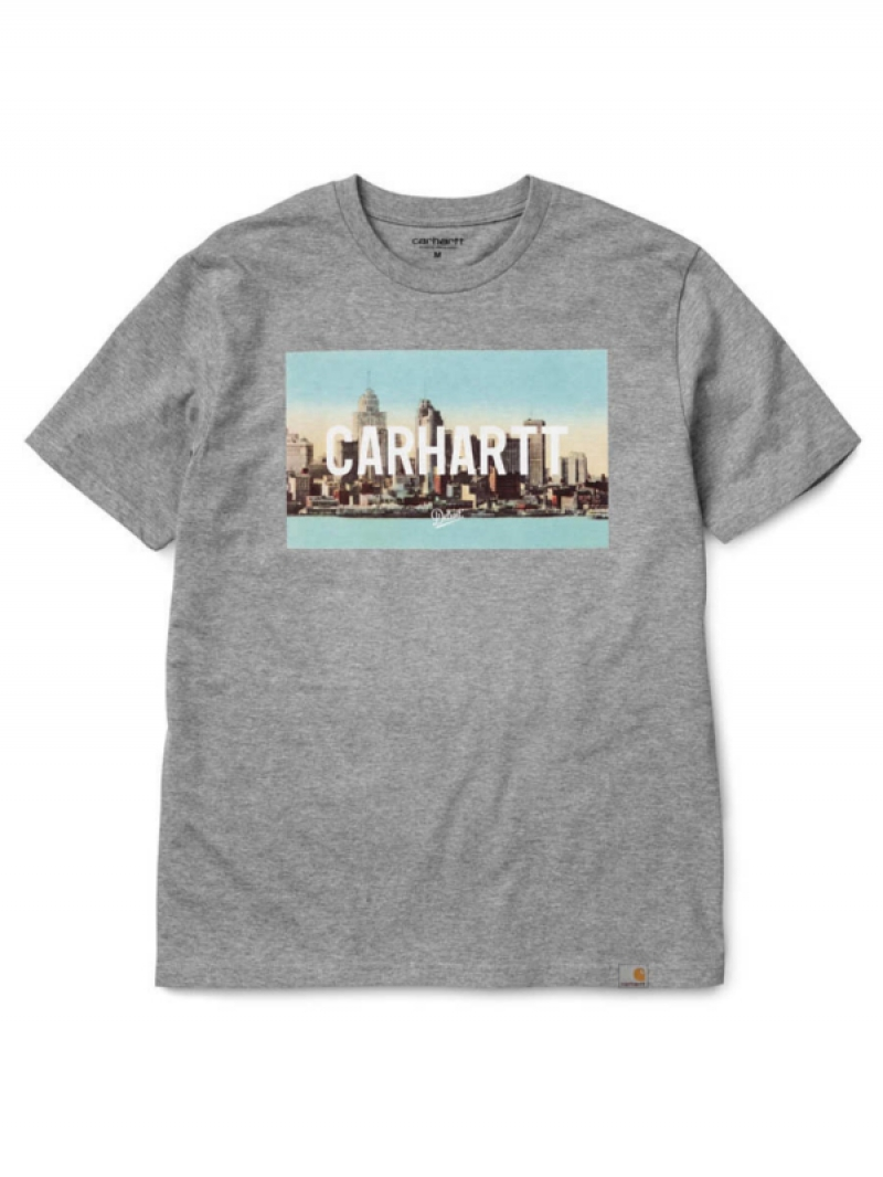 styl mody aliexpress uroczy Carhartt Detroit Skyline T-Shirt (grey heather/multicolor) | T-Shirts