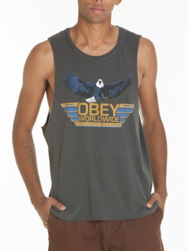 Obey Worldwide Message Tank Top (dusty black)