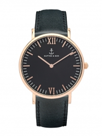 Kapten & Son Campus Black Leather (black/rosegold)