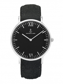 Kapten & Son Campus Black Vintage Leather (black/silver)