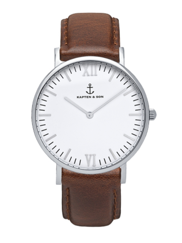 Kapten & Son Campus Brown Leather (white/silver)