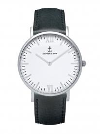 Kapten & Son Campus Black Leather (white/silver)