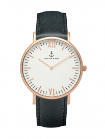 Kapten & Son Campina Black Leather (white/rosegold)