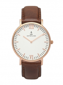 Kapten & Son Campina Brown Leather (white/rosegold)