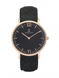 Kapten & Son Campina Black Vintage Leather (black/rosegold)