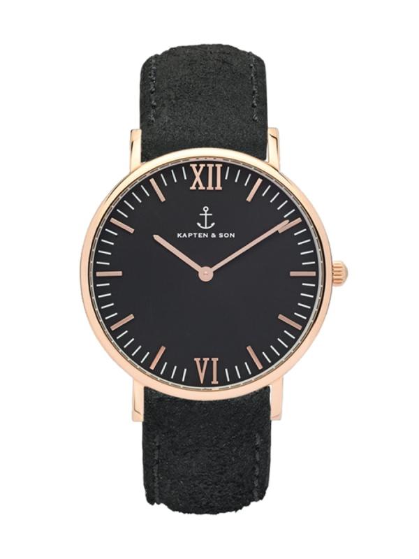 Kapten & Son Campina Black Vintage Leather (black/rosegold)