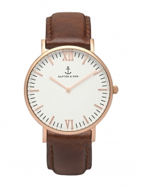 Kapten & Son Campus Brown Leather (white/rosegold)