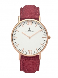 Kapten & Son Campina Bordeaux Canvas (white/rosegold)