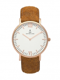 Kapten & Son Campina Brown Vintage Leather (white/rosegold)
