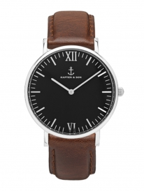 Kapten & Son Campus Brown Leather (black/silver)