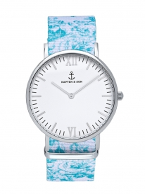 Kapten & Son Campus Floral Turquoise (white/silver)