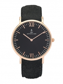 Kapten & Son Campus Black Vintage Leather (black/rosegold)