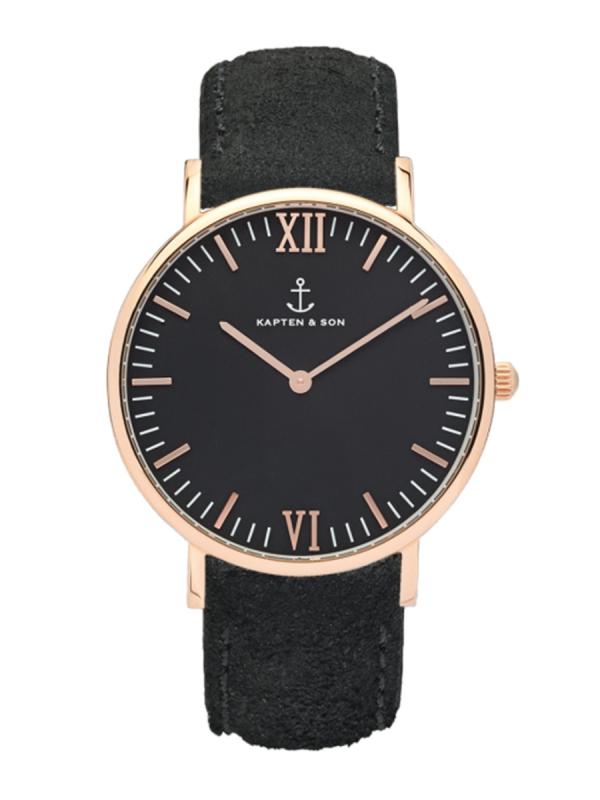 Kapten & Son Campus Black Vintage Leather (black/rosegold)