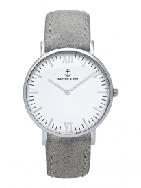 Kapten & Son Campus Grey Vintage Leather (white/silver)
