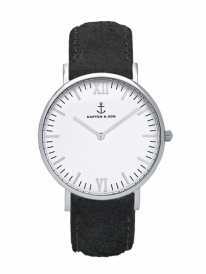 Kapten & Son Campina Black Vintage Leather (white/silver)