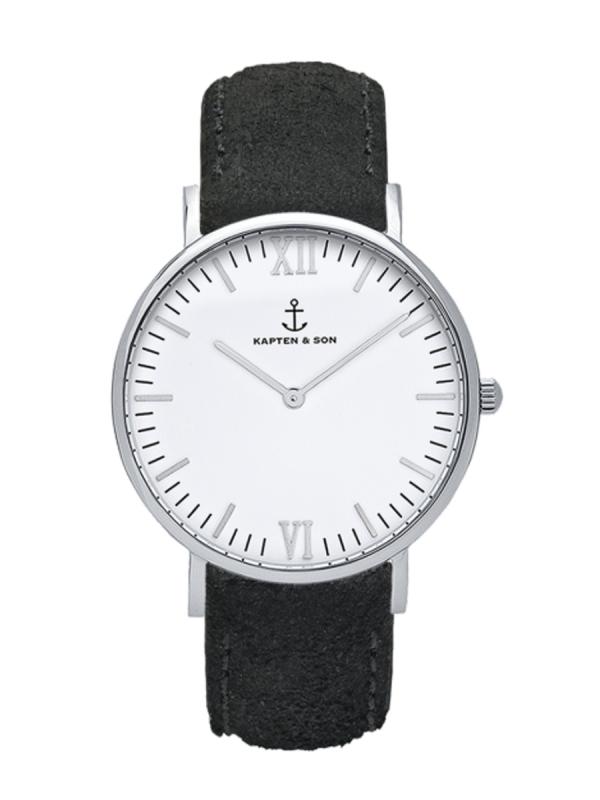Kapten & Son Campina Black Vintage Leather (white/silver)