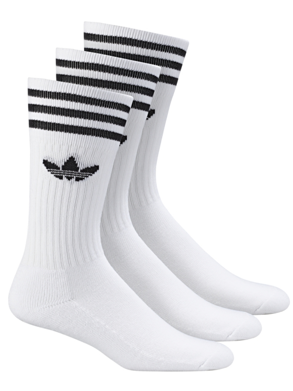 Adidas Solid Crew Socken 3 Paar (white/black)