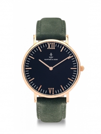 Kapten & Son Campina Pine Green Leather (black/rosegold)