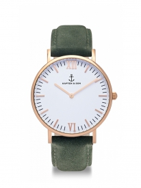Kapten & Son Campina Pine Green Leather (white/rosegold)