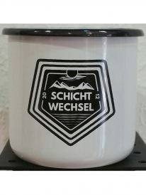 Schichtwechsel Mountain Logo Tasse (white)