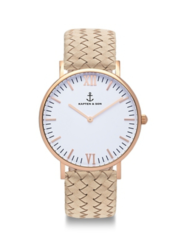 Kapten & Son Campina Sand Woven Leather (white/rosegold)