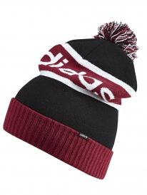 Adidas Pompom Beanie (black/collegiate burgundy/white)