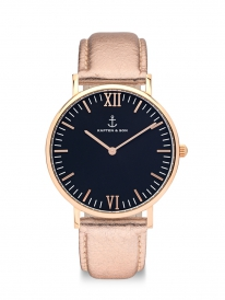Kapten & Son Campus Rose Metallic Leather (black/rosegold)