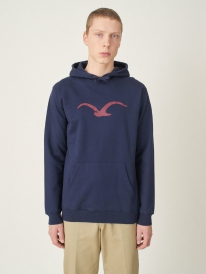 Cleptomanicx Möwe Hoodie (dark navy/merlot red)