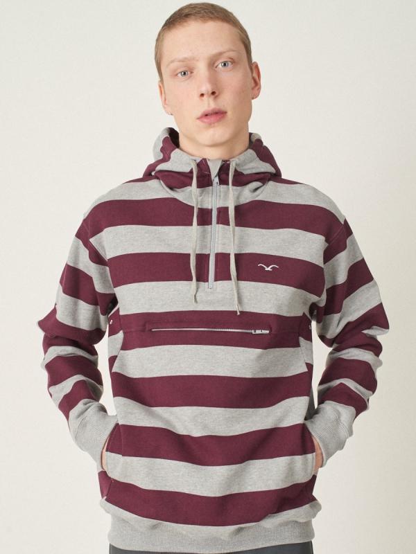Cleptomanicx Hooded Stripe 3.0 Hoodie (heather gray)