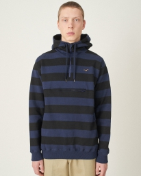 Cleptomanicx Hooded Stripe 3.0 Hoodie (dark navy)