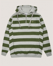 Cleptomanicx Hooded Stripe 3.0 Hoodie (heather gray/rifle green)