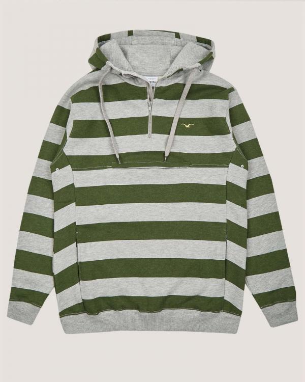 Cleptomanicx Hooded Stripe 3.0 Hoodie (heather gray/rifle green)