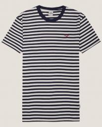 Cleptomanicx Ligull Stripe T-Shirt (dark navy)