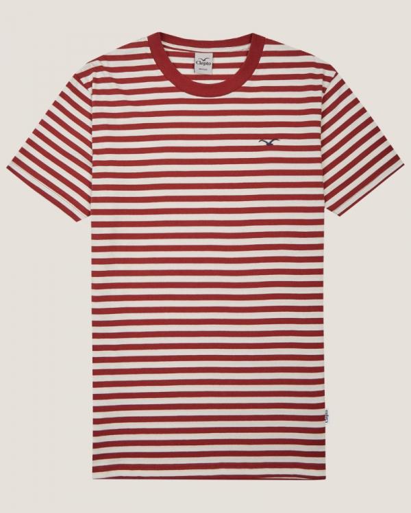 Cleptomanicx Ligull Stripe T-Shirt (apple butter)