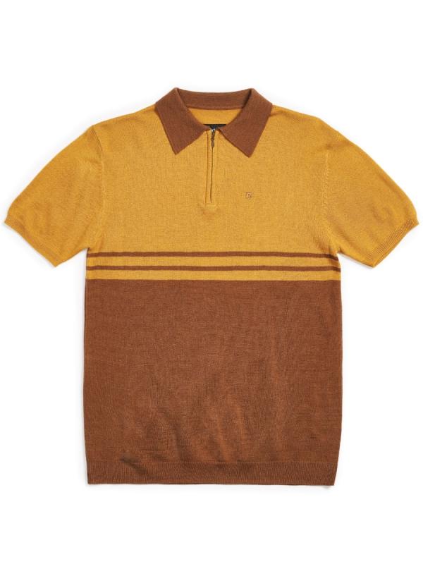 Brixton Allen 1/4 Zip Polo T-Shirt (maize/bison)