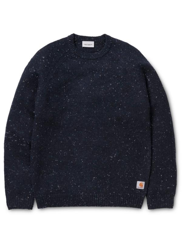 Carhartt WIP Anglistic Strick Sweater (dark navy heather)