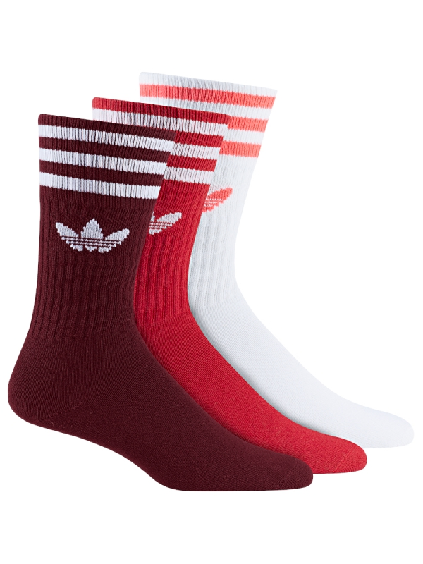 Adidas Solid Crew Socken 3 Paar (burgundy/scarlet/white)
