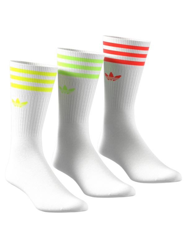 Adidas Solid Crew Socken 3 Paar (white/neon)