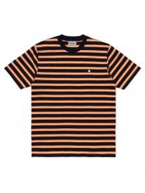 Carhartt WIP Oakland T-Shirt (oakland stripe/dark navy/pop orange)