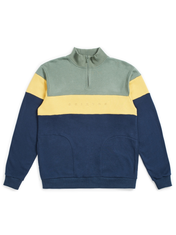 Brixton Cantor 1/2 Zip Sweater (cypress/washed navy)