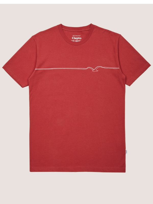 Cleptomanicx Möwe Lines T-Shirt (rosewood)