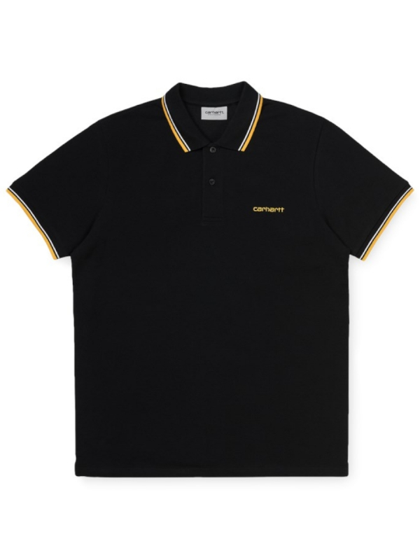 Carhartt WIP Script Embroidery Polo T-Shirt (black/white/sunflower)