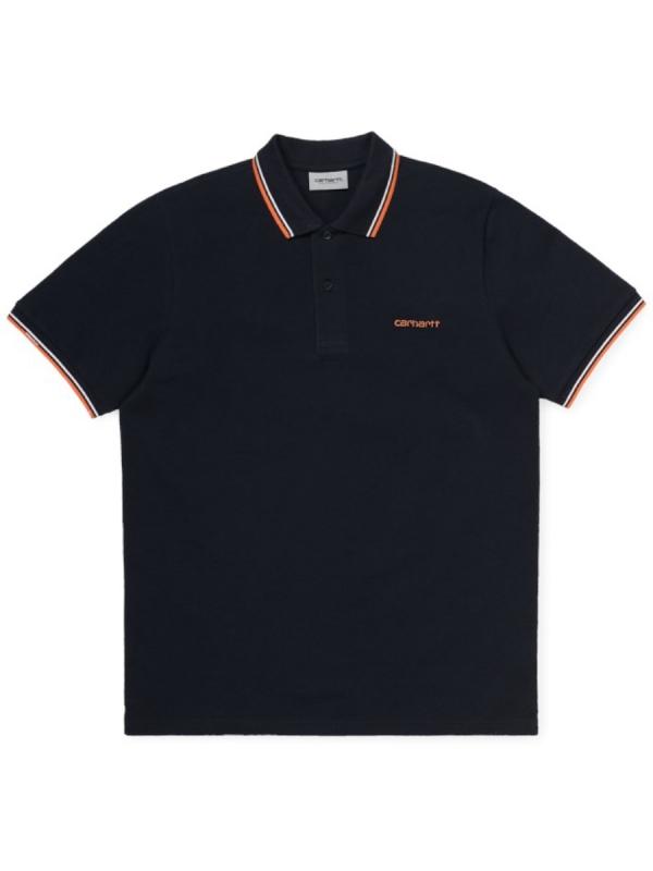 Carhartt WIP Script Embroidery Polo T-Shirt (dark navy/white/clockwork)