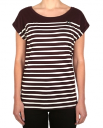 Iriedaily Cat Stripe T-Shirt (aubergine)