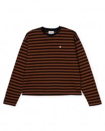 Carhartt WIP W Parker Longsleeve (parker stripe/black/brandy)
