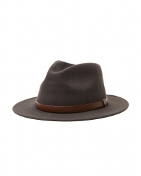 Brixton Messer Packable Adjustable Fedora Hat (washed black/light brown)