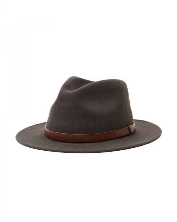 Brixton Messer Packable Adjustable Fedora Hat (washed black/light brown)