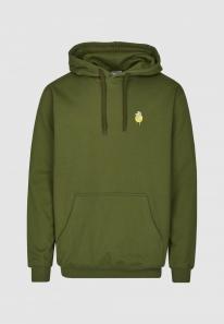 Cleptomanicx Embroidery Zitrone Hoodie (rifle green)