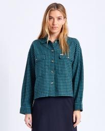Brixton W Bowery Lightweight Flannel Hemd (silver pine)